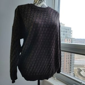 Unisex Over Size Knit Pullover Sweater in Brown